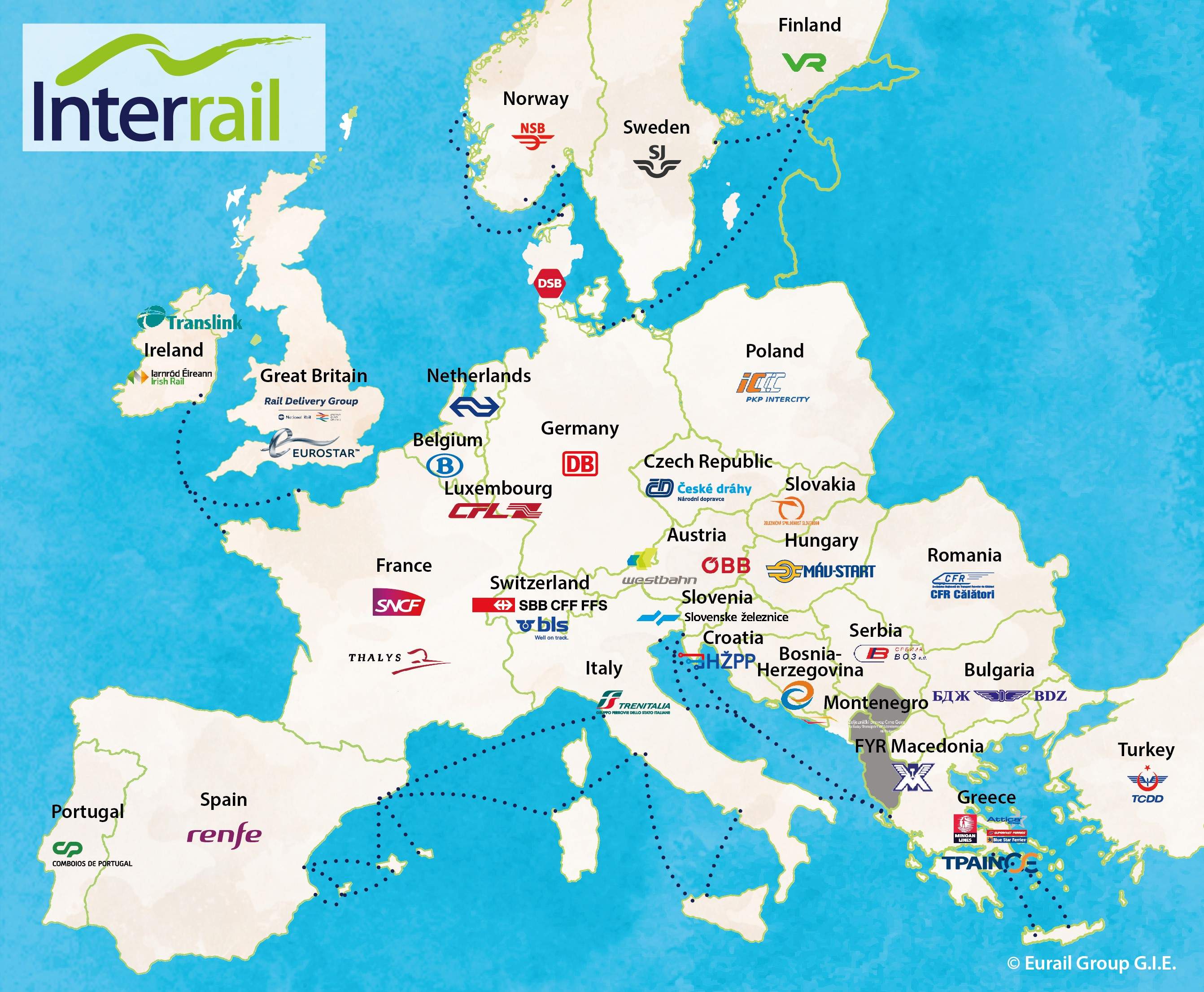 Train Travel Usa Map.Interrail Pass Holders All Interrail Passes Oui Sncf